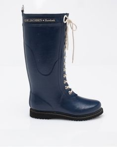 Tall Lace-Up Rain Boot In Navy