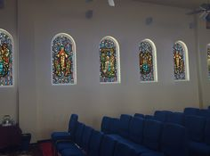 Our stock / budget decorative window film design (with added custom religious images added, in a church setting Stained Glass Window Film, Church Windows, Window Films, Religious Images, Budget, Gallery, Design, Decor, Decoration