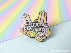 Crystal Queer Enamel Pin • LGBTQ* Glitter Pastel Rainbow Pin