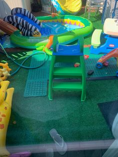 You could install the PVC deck tiles anywhere outdoors that you want to provide traction. Some people have reported success installing these tiles around a children's swing set or around other areas where children play. The PVC plastic tiles yield a softer landing if a child falls, and because the tiles can be installed over dirt or grass, they can prevent running children from slipping on wet grass or in mud. Playground Mats, Preschool Playground, Playground Flooring, Outdoor Playground, Pvc Decking, Deck Flooring, Deck Tile, Outdoor Play Areas, Children Play