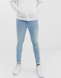 Buy Pull&Bear Join Life super skinny jeans in light wash blue at ASOS. Get the latest trends with ASOS now. Light Blue Jeans Outfit, Blue Jean Outfits, Nike Outfits, Casual Outfits, Men Casual, Tights Outfit, Super Skinny Jeans, Sexy Men, Men's Jeans