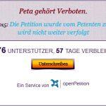 """Petition """"PeTA Gehört Verboten"""" zurückgezogen"""
