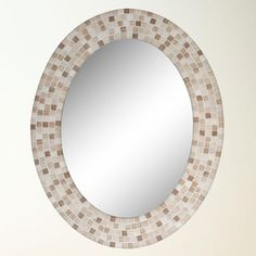 Travertine Mosaic Oval Mirror (8668)