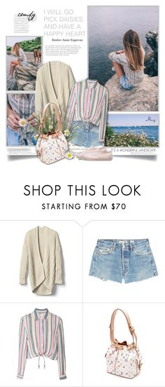 """""""I Will Go Pick Daisies And Have A Happy Heart"""" by thewondersoffashion ❤ liked on Polyvore featuring Gap, RE/DONE, Solid & Striped, Louis Vuitton and Vans"""