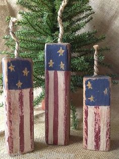 Primitive Americana Stars & Stripes Firecrackers Fireworks Shelf Sitter Wood Blocks - Free ship