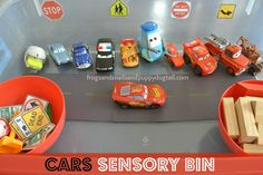 Cars Sensory Bin. Great kids activity -- fun activity before or after the trip!