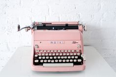 """<p> Pink typewriter, $80, available nationwide from<a href=""""http://www.bizbash.com/patina-rentals/new-york/listing/878719"""">Patina Vintage Rentals</a></p>"""