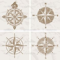 Vintage compasses. Lower left.