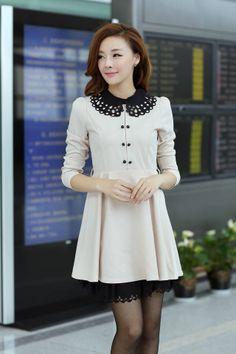 Feminine Look Double Breasted Lapel Spliced Hollow Color Block Dress