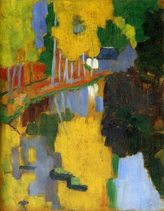 """Paul Serusier — The Talisman, Painting: oil on wood, 27 x 21 cm. [[MORE]]""""Paul Sérusier sojourned in Pont-Aven during the summer of along with Paul Gauguin, whose. Paul Gauguin, Pierre Bonnard, Landscape Art, Landscape Paintings, Landscapes, Forest Landscape, Maurice Denis, Fine Art, Art Day"""