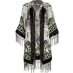 Heart this kimono. I could have a whole wardrobe of kimonos 2014 Fashion Trends, 2015 Trends, Dressy Casual Outfits, Festival Outfits, Festival Fashion, Clothing Items, Modest Fashion, Black Print, River Island