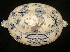 LRG SOUP TUREEN vtg blue onion meissen boy figurine white bowl german porcelain