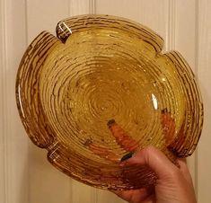 "■huge■ 8.75"" Vintage Anchor Hocking Lido Soreno Clear Amber Round Glass Ashtray"