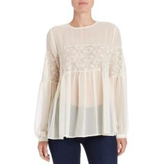 French Connection Lace Embroidered Peasant Top ($118) ❤ liked on Polyvore featuring tops, blouses, cream, lace blouse, cream lace blouse, embroidered peasant top, long sleeve blouse and long sleeve lace blouse