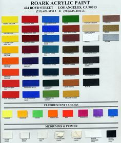 Roark Acrylic Paint Colors Color Mixing Guide, Color Mixing Chart, Paint Color Chart, Paint Colors, Acrylic Paint On Fabric, Fabric Painting, Subtractive Color, Blue Pigment, Fluorescent Colors