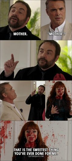 """14 Best Supernatural Quotes from 'LOTUS' (12x08) - Crowley (to Rowena): Mother. Louis: """"Mother""""? (Crowley blows Louis into pieces) Rowena: That is the sweetest thing you've ever done for me."""