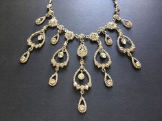 Excited to share this item from my shop: Chandelier rhinestones crystals necklace, wedding necklace, bridal necklace, rhinestones necklace, prom, engaged, statement necklace #wedding #victorian #blingglam #bridaljewellery #bridaljewelry #silverjewelry