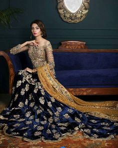 A luxury bridal wear by Arjumand looks very trendy by its off shoulder look. Pakistani Wedding Outfits, Pakistani Wedding Dresses, Bridal Outfits, Indian Dresses, Indian Outfits, Wedding Lenghas, Bollywood Wedding, Wedding Hijab, Desi Wedding
