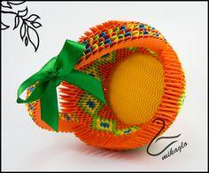 Orange origami 3d basket  tutorial -> mikaglo.blogspot.com