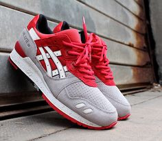 asics red and grey