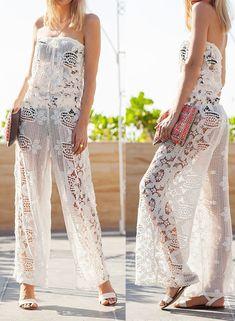 Cute white lace women jumpsuit, women fashion lace jumpsuit