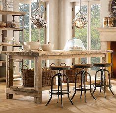 Salvaged Wood Kitchen Island Collection via Restoration Hardware Homemade Kitchen Island, Diy Kitchen, Kitchen Decor, Wooden Kitchen, Kitchen Design, Reclaimed Kitchen, Kitchen Ideas, Kitchen Interior, Vintage Kitchen