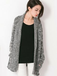 No-fuss Longline Cardigan $32.80  This No-fuss Longline Cardigan features a semi-fitted cardigan made up of acrylic and wool fabric. Designed in No-fuss Longline fashion with two side pockets in front. No buttons, front open. Long sleeves and is open for alteration to shorten.