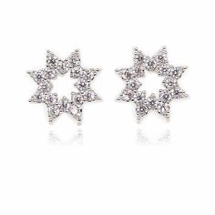 Double Stars Pave Setting Round Cubic Zirconia Sterling Silver Plated Stud Earrings