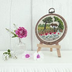 Poppy Cottage Tiny Embroidery Hoop Picturesque beautiful