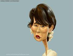 #Caricatura de Aung San Suu Kyi, luchadora por los derechos humanos en #Birmania.  Aung San Suu Kyi #caricature, fighter for human rights in #Burma
