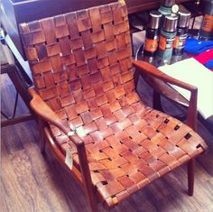Vintage Leather Chair, woven leather, would look good on rocking chair. Leather Furniture, Vintage Furniture, Cool Furniture, Furniture Design, Woven Chair, Wrought Iron Patio Chairs, Deco Originale, Painted Chairs, Leather Design