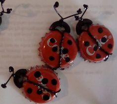 Ladybug Bottle Cap Magnets by CanCanCorner on Etsy, $3.00