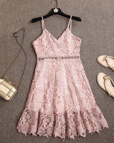 Cheap lace dress, Buy Quality lace mini dress directly from China mini dress Suppliers: xiM&M Women Sexy Lace Dress V-neck Sleeveless Straps Back Zipper Ruffles Hem Lace Mini Dress Sexy Lace Dress, Dress Me Up, Backless Prom Dresses, Lace Dresses, Dress Outfits, Cute Outfits, Fashion Outfits, Dream Dress, Casual