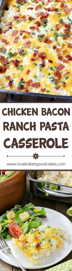 Chicken Bacon Ranch Pasta Casserole is creamy, cheesy, and comforting! Loaded with chicken, bacon, cheese, and a homemade Ranch sauce, this is sure to become a family favorite!