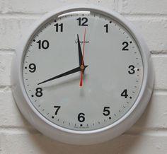 Vintage Retro 1980s Grayson White Kitchen Wall Clock Battery Movement FWO Unused