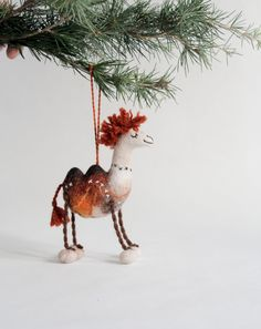 Christmas Ornament, Felted Llama, Handmade toy, Felted farm animal, Goat, Christmas tree decoration. gift for kids.