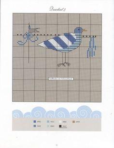 0 point de croix grille et couleurs de fils mer mouette