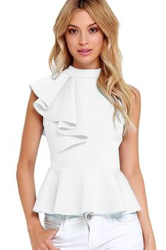 Asymmetric Ruffle Side Peplum Top