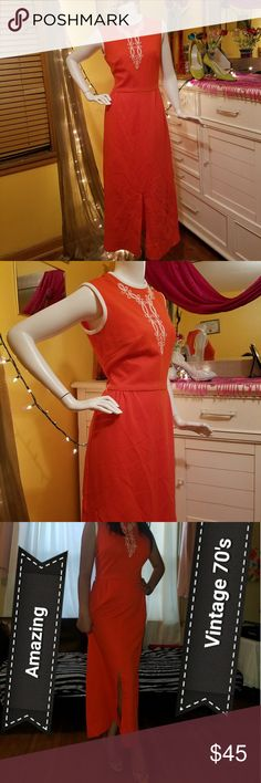70's Vintage (AsianStyle)Orange Dress Brand: Kay Windser Aproximate  Length: 51 inches from shoulder to hem Underarm- underarm 18.5-19 inches Waist across- 14.5 inches  Looks like polyester Was my dress and I am modern size 10. Does fit me but more snug, reason for selling.  If you love it a size 10 may work. Dress has a bit of stretch. See measurements. I prefer a little more room.  Will come a little wrinkled on bottom as I dont want to risk burning it.  Love it and you will too with the…