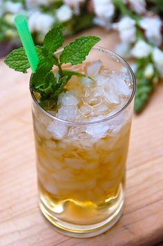 Mint Julep 2 ounces Jim Beam or new Jim Beam Honey Bourbon 1 spring of mint leaves 1 tablespoon granulated sugar or ½ ounce simple syrup 1 ounce water or club soda Cold Drinks, Beverages, Alcoholic Drinks, Iced Tea Maker, Honey Whiskey, Jim Beam, Summer Cocktails, Sweet Tea, Simple Syrup