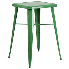 iHome Collins Square 23.75'' Green Metal Bar Height Table for Indoor/Outdoor/Patio/Bar/Restaurant, Patio Furniture