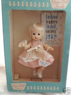 Vintage Ginny Baby Original Box, Tagged Dress, 1960's, 8 IN, Vogue Ginny Doll!