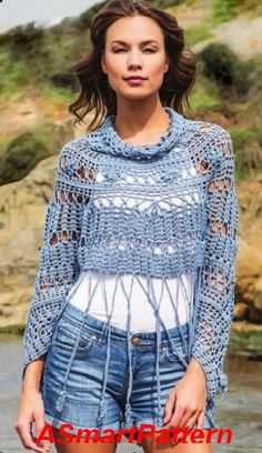 Almost Free Crochet pattern #23 Blue Summer Sexy Poncho by DRESS199,SIZE: S –M…