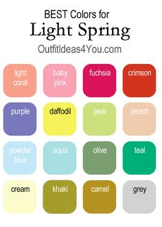 Here are your BEST colors if you are a light spring. Visit http://OutfitIdeas4You.com for the complete light spring palette.