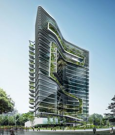 Innovative Green office building design with Attractive Architecture soaring into the sky with modern glass walls and uniqe garden around it Architecture Visualization, Green Architecture, Concept Architecture, Futuristic Architecture, Sustainable Architecture, Amazing Architecture, Architecture Design, Pavilion Architecture, Residential Architecture