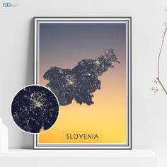 SLOVENIA map - Slovenia sunset map - Travel poster - Home Decor - Wall decor - Office map - Slovenia gift - GGmap - Sovenia travel map Office Wall Decor, Wall Art Decor, Poster Home, New York City Map, Map Shop, Country Maps, Skyline Art, Custom Map