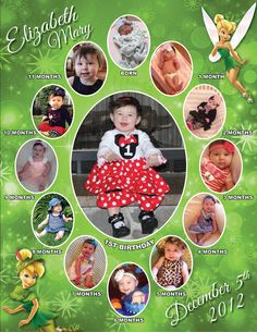 Tinkerbell Monthly Collage   The best way to remember your child's first year is to make a photo collage of their monthly photos. This is the perfect memory to share with your family & friends on your child's special first birthday!  I also offer CUSTOM collages with ANY THEMES at all!  Quick turn around time and I guarantee you will LOVE IT!  Copyright © 2015 All rights reserved Anna Roze Design
