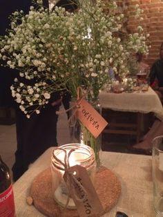 DIY center pieces:  baby breath mason jars rustic tags  rustic wedding party