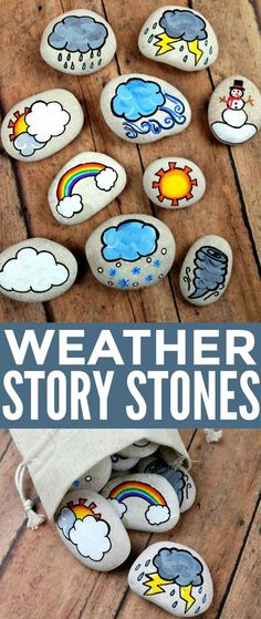 These Weather Story Stones are a DIY toy for storytellers .- Diese Wetter Story Stones sind ein DIY-Spielzeug für Storytelli … These Weather Story Stones are a DIY toy for storytelling … – course – - Kids Crafts, Diy And Crafts, Craft Projects, Arts And Crafts, Pebble Painting, Pebble Art, Stone Painting, Painting Art, Story Stones