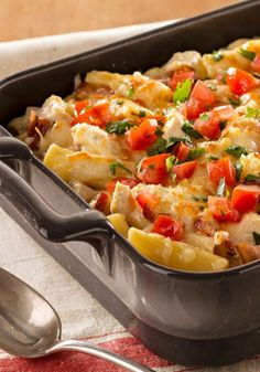 Recipe for Monterey Chicken Pasta Bake - Cheesy with shredded Monterey Jack and hearty with chicken, bacon and rigatoni, this family-pleasing pasta bake is ready for the oven in just 20 minutes.